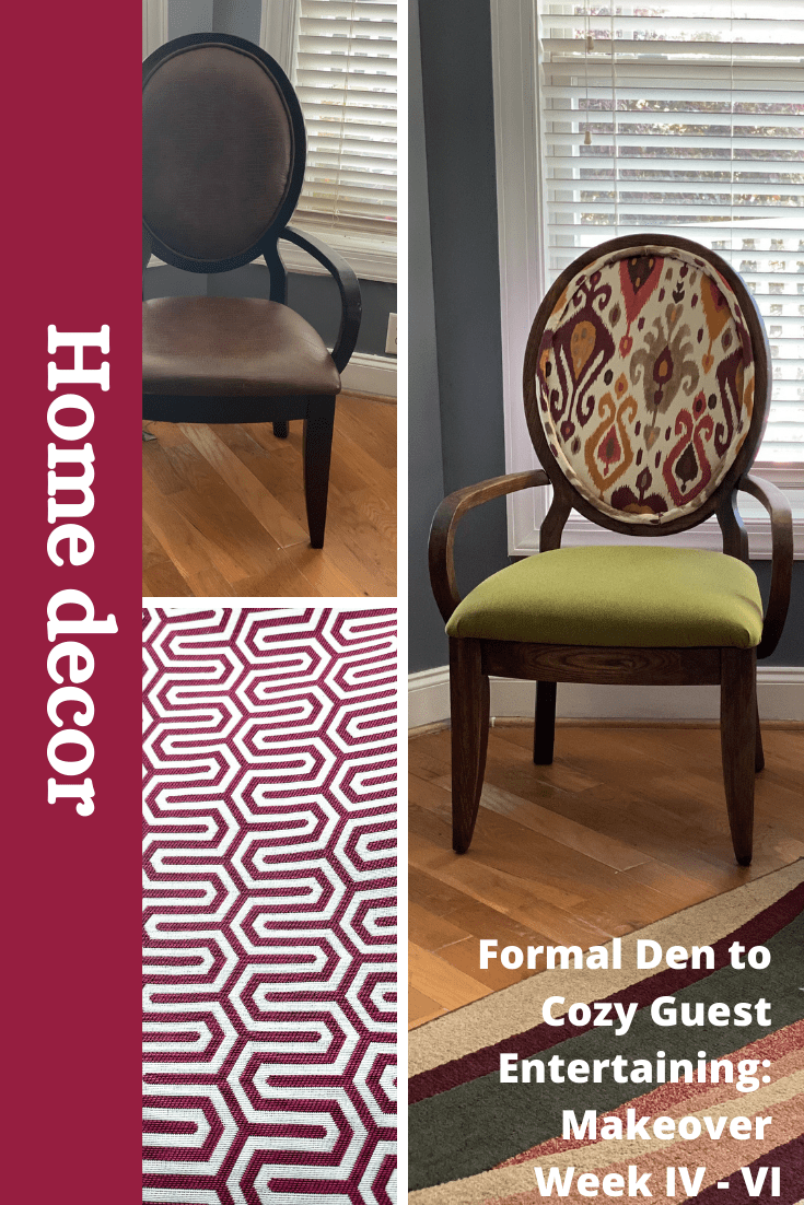 FROM FORMAL DEN TO COZY GUEST ENTERTAINING : MAKEOVER WEEK IV – WEEK VI